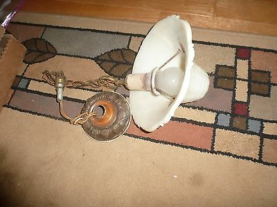 Vintage Chandelier - Depression Era - Milk Glass Bell Shaped Shade & Brass