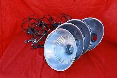 Lot of 4, Clamp-On Photography lights with Aluminium reflectors 120V