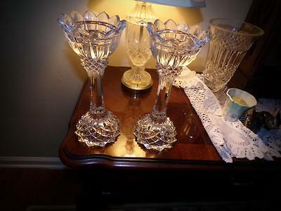CRYSTAL CANDLESTICK HOLDERS TALL Swarovski OR WATERFORD? HIGHER END NO MARKING