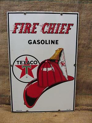Vintage 1962 Porcelain Texaco Fire Chief Gas Station Sign > Antique Old Oil 9660