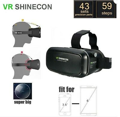 VR VISORI BOX VIDEO 3D SHINECON REALTA' VIRTUALE PER IPHONE 6s 6plus Samsung ecc