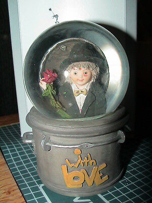 Kim Anderson With Love Snowglobe 6205 Forever Young Girl Holding Rose In Tux New