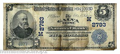 Galva, Illinois (IL) $5 National Bank Note, 1902 Large Size Blue Seal, Ch 2793