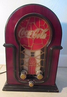 Coca Cola Stained Glass Look AM FM Radio Lighted Face Electric 2001