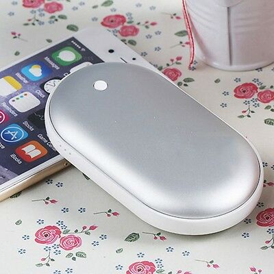 Cobblestone USB Charger Electric Hand Warmer Rechargeable Heater Silver #U