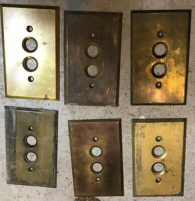 6 Vintage Solid Brass Push Button Light Switch Cover Plates