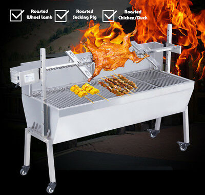 """46"""" Stainless Steel BBQ Pig Lamb Goat Chicken Spit Roaster Rotisserie Grill"""