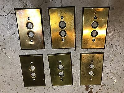 6 Vintage Solid Brass Push Button Light Switch Cover Plates Set 2