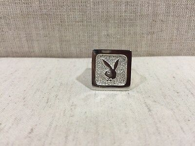 Vintage 925 Sterling Silver Solid Mens PLAYBOY Bunny Ring RARE Heavy Collectible