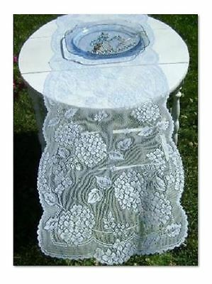 Gorgeous Serenity Blue Lace Table Runner Dresser Scarf Hydrangeas 14X29 USA