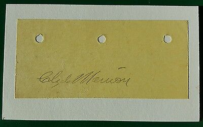 Clyde Manion signed album page cut - 1920 Tigers Debut - Deceased 1967
