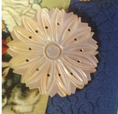 A Vintage Carved Mother of Pearl MOP Button Large Sunflower Look 1.5 Inch