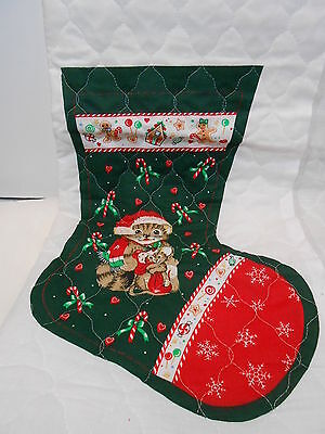 """VINTAGE Christmas Fabric Panel QUILTED 14"""" CHRISTMAS STOCKING Kitty & Mouse"""