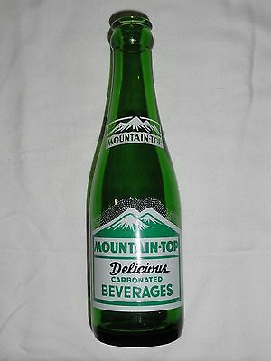 """Rare Green Glass """"mountain-Top Delicious Carbonated Beverages"""" Acl Soda Bottle"""