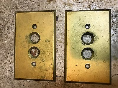 2 Vintage General Electric Solid Brass Push Button Light Switch Cover Plates