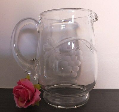 Vintage Clear Glass Small Jug Milk Cream Sauce Etched grapes and leaves