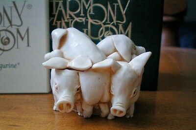 Harmony Kingdom Hammin' It Up Pigs Marble Resin UK Made Retired 12/1/1996 Sgn