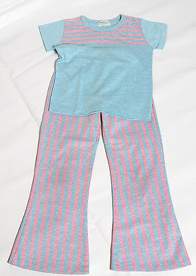 EUC Vintage Health-Tex Retro Striped 70 80's Made in USA Matching Outfit Size 6x