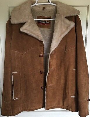 Vintage Suede Cowhide Leather Shearling  Jacket Montgomery Ward Size 42 Large