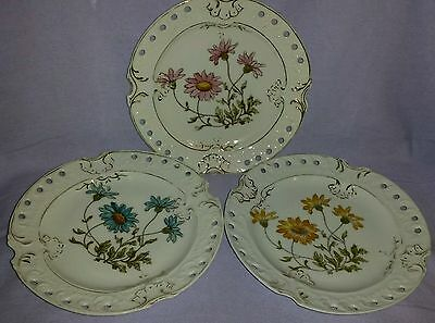 Set 3 Antique Hand Painted Reticulated Floral Limoges Cabinet Display Plates
