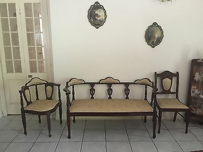 Vintage Antique Men's 'Smoking' Parlour 3 Piece Suite - Early 1900's