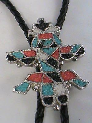 Vintage Knifewing Bola Silver Chip Stones Turquoise & Coral  Bolo Tie Florenta