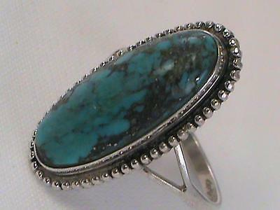 Vintage Hand Made Sterling Ladies Ring Turquoise w Silver Flakes Signed L@@K!