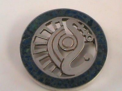 Vintage Miguel Melendez Taxco Mexican Lapis Silver Art Pin Brooch 925 Sterling