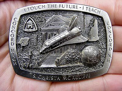 Vtg SPACE SHUTTLE Belt Buckle NASA Challenger McAuliffe Concord NH RARE VG++