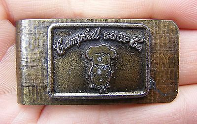 Vtg CAMPBELL SOUP CO Money Clip CHEF Brass CAN Warhol LOGO Enamel RARE VG