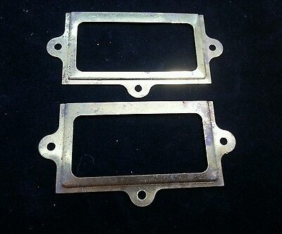 "Set of 2 antique large brass card file cabinet drawer label holders 4""x 2 1/8"""