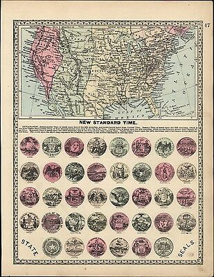 New Standard Time Zones across United States 1892 antique map decorative seals