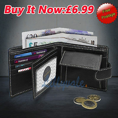 Mens Soft Quality Leather Bi-fold Wallet /Credit Card Holder /Purse in Black-1b