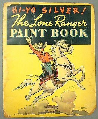 1938 The Lone Ranger Hi-Yo Silver Paint Book Coloring Book Used - FAIR