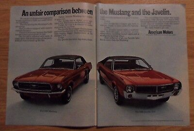 1967 Print Ad AMC American Motors Javelin SST Car ~ Compared to Ford Mustang