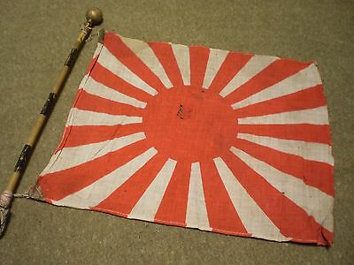 WW2 Japanese Army/Navy Rising Sun Flag w/ Pole in Great Condition