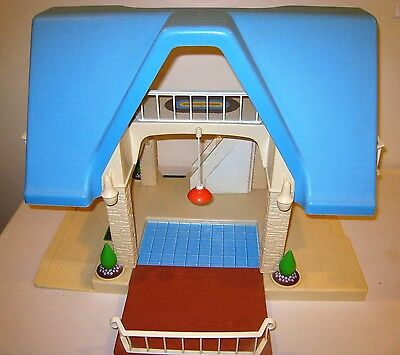 Vintage Little Tykes Blue Roof Dollhouse Playhouse Furniture People Accessories