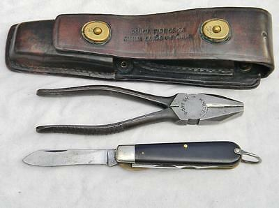 US WW2 Singal Corps LINEMAN'S TOOL SET TL-29 knife, pliers & CS-34 leather pouch