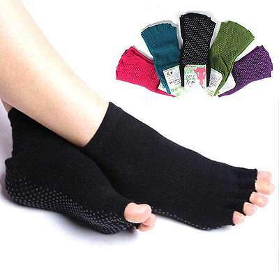 Durable Toeless Ankle Grip Yoga Pilates Socks Five finger Anti-Slip Open Toe New