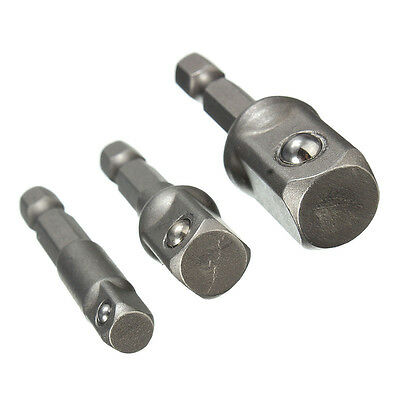"3pcs Impact Drill Bit Driver Socket Adapter Set Hex Shank For To 1/4"" 3/8"" 1/2"""