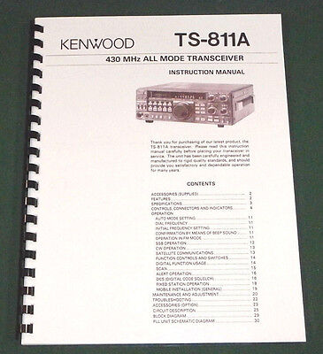 Kenwood TS-811A Instruction Manual - Premium Card Stock Covers & 28 LB Paper!