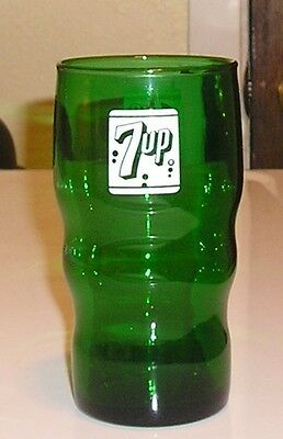 Emerald Green Advertising 7up Glass Antique Vintage Old
