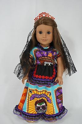 "special edition day of the dead Mexico outfit fit 18"" & american girl doll"