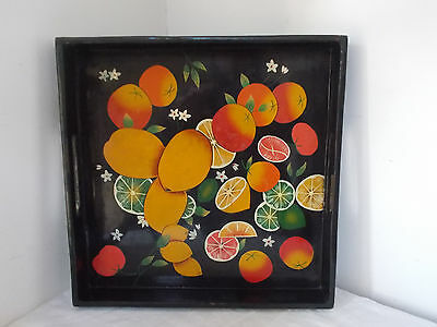 Vintage Serving Tray black, decorated with orange lemon and limes