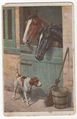 RARE Carl Reichert Antique Pointer Dog w/ Horses Postcard Pre-1918