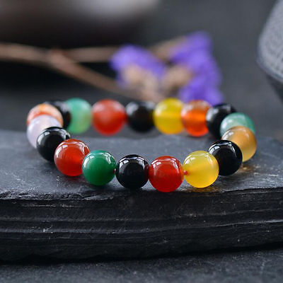 6mm-12mm Natural Round Multicolor Agate Gemstone Beads Stone Stretchable Bangle