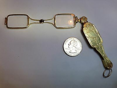ANTIQUE 18K YELLOW GOLD LORGNETTE SPECTACLES EYEGLASSES 22.2grams