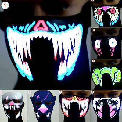 Face Mask Light Up Flashing Luminous for Halloween Party Costume Dance Decor