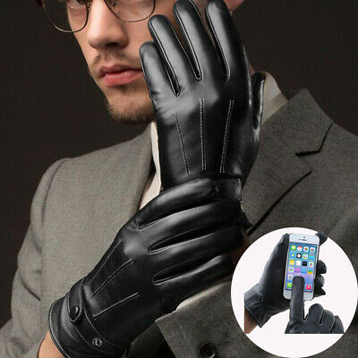 Warm Mens Winter Gloves Leather Motorcycle Full Finger Touch Screen Warm Gloves