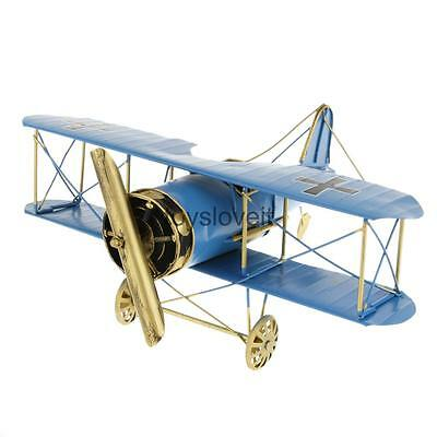 Vintage Biplane Airplane Plane Model Tin Toy Home Office Decor Gift Blue